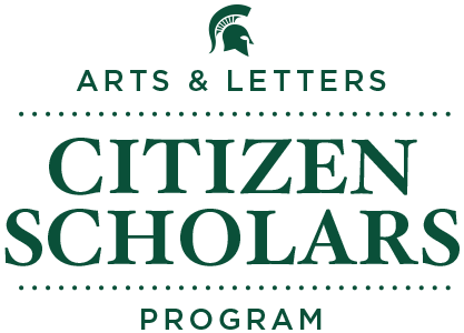 "Text that says ""Arts & Letters Citizen Scholar Program"""